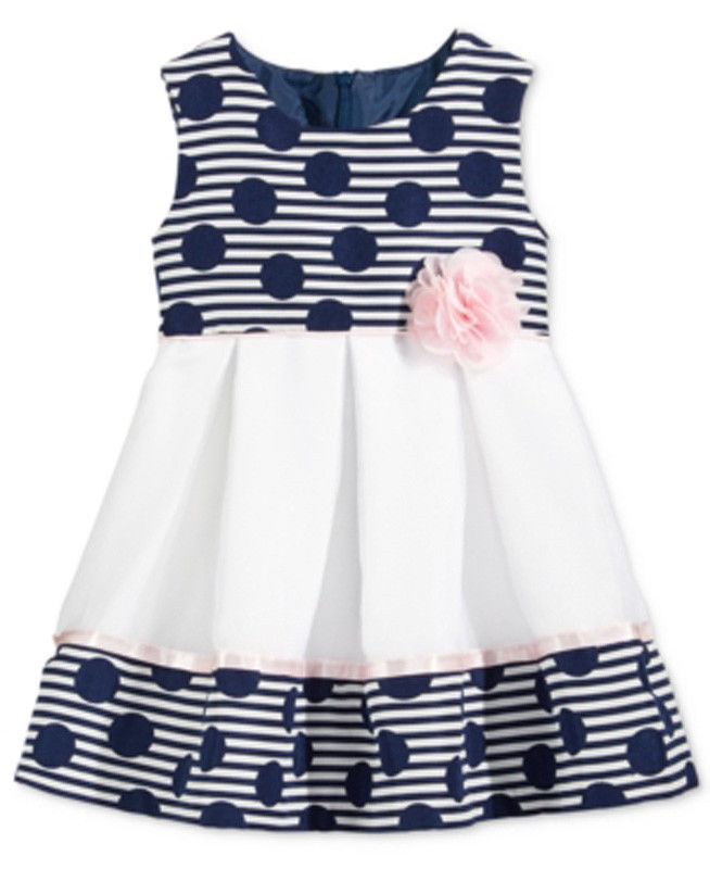 Bonnie Baby Dots & Stripes Jacquard Dress, Navy/White, 24M - $24.74