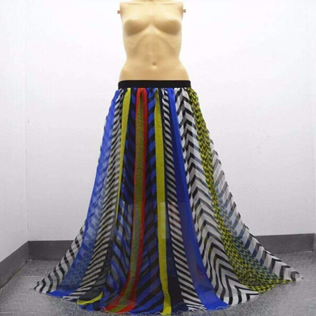 Bohemian Chiffon Multicolor Print Women Maxi Skirt
