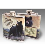American Expedition Black Bear Steel Hip Flask 6 oz NIB Men's Gift Fathe... - $24.64