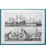 SHIPS Various Rigs Carac Great Harry Felucca Cutter Galley - 1844 Superb... - $25.20