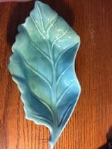 Hoenig of California USA Leaf Dish Mid Century Art Pottery~ Turquoise (V... - $23.55