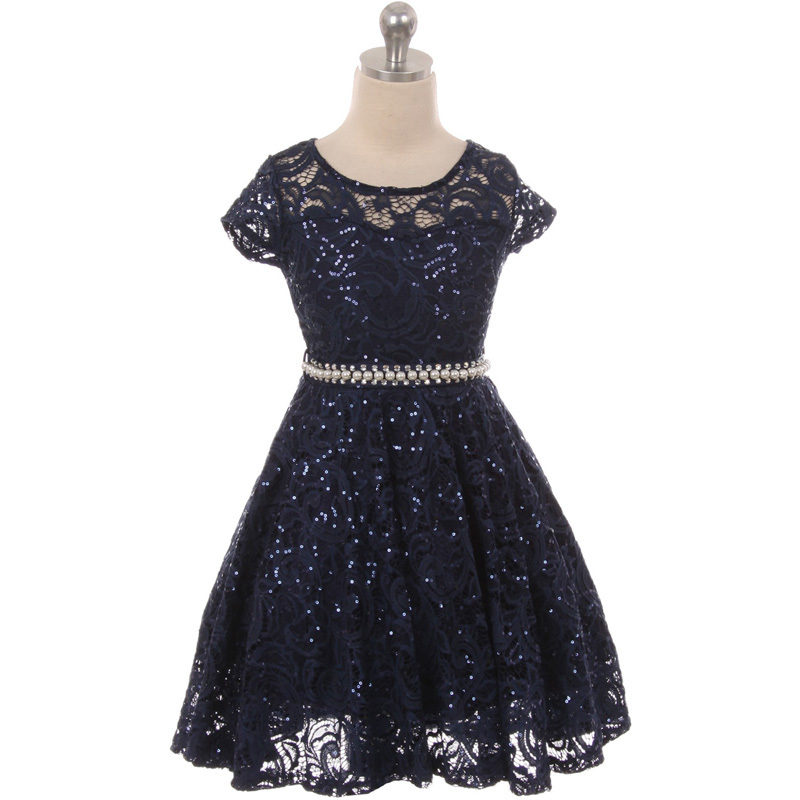 Primary image for Navy Blue Cap Sleeve Glitters Floral Lace Pearl Belt Flower Girls Dresses