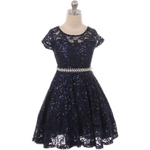 Navy Blue Cap Sleeve Glitters Floral Lace Pearl Belt Flower Girls Dresses - $32.99+