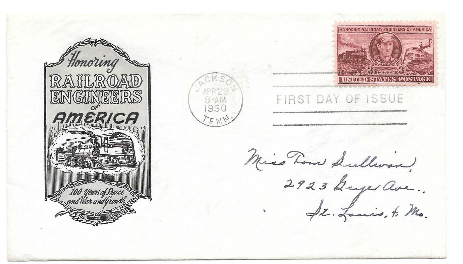 Railroad Engineers FDC Sc# 993 Loor Cachet First Day Cover 1950
