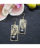 Gold Ulu Leaf Pearl earrings - $20.00