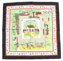 "Authentic HERMES ""RETOUR A LA TERRE"" Black 100% Silk Scarf #20523 - £189.30 GBP"