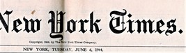 The New York Times, Newspaper, Tuesday June 6, 1944 - $19.95