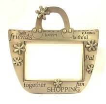 Metal Pewter Friends Picture Frame Holds 3.5 X 5 Photo Shopping Bag Shap... - $13.09