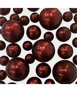 2 Packs Sale Floating No Hole Burgundy Pearls - Jumbo/Assorted Sizes Vas... - $24.23