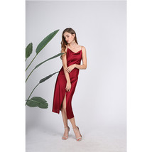 Red silk satin dress, split ends sexy lazy style sling dress mini dress - $55.00