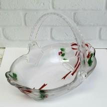 NIB Celebrations by MIKASA Christmas Glass Basket Dish Holiday Bells Collection - $19.99