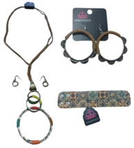 Boho Gypsy Hippie Leather & Metal Hoop Ring Necklace, Earrings & Wristba... - $19.99