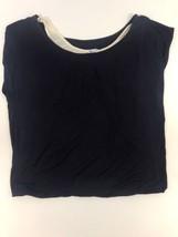 Splendid Double White Tank Navy Short Sleeve Top T-Shirt L #ST10596 - $9.49