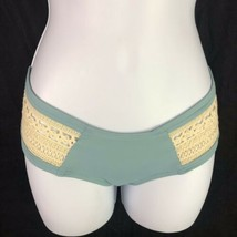 L Space Boho Crochet Side Bikini Swim Bottoms Womens M Medium Blue Cream... - $19.80