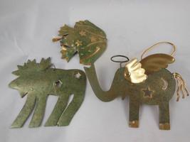"Set of 3 tin Christmas ornaments Elephant Frog and Moose Green Gold Metal 3"" -5"" - $10.39"