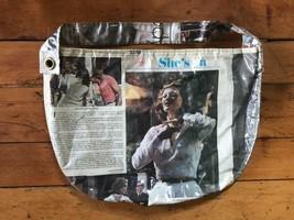 Vintage Clear Plastic Over 1974 Newspaper Faye Dunaway Shoulder Purse - $114.32