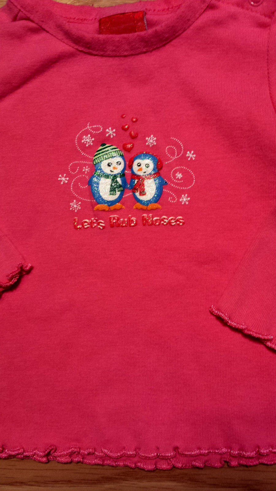 Girl's Size 6 M 3-6 Months 2P Pink Glitter Penguin Lets Rub Noses Top, TCP Jeans