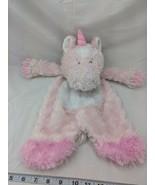 Baby Ganz Sweet Iris Pink Unicorn Lovey Plush Security Blanket Flat a Pa... - $8.96