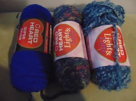 3 Red Heart Yarn Painted Desert #9808 Antique Blue #9380 Royal #0385 - $24.75