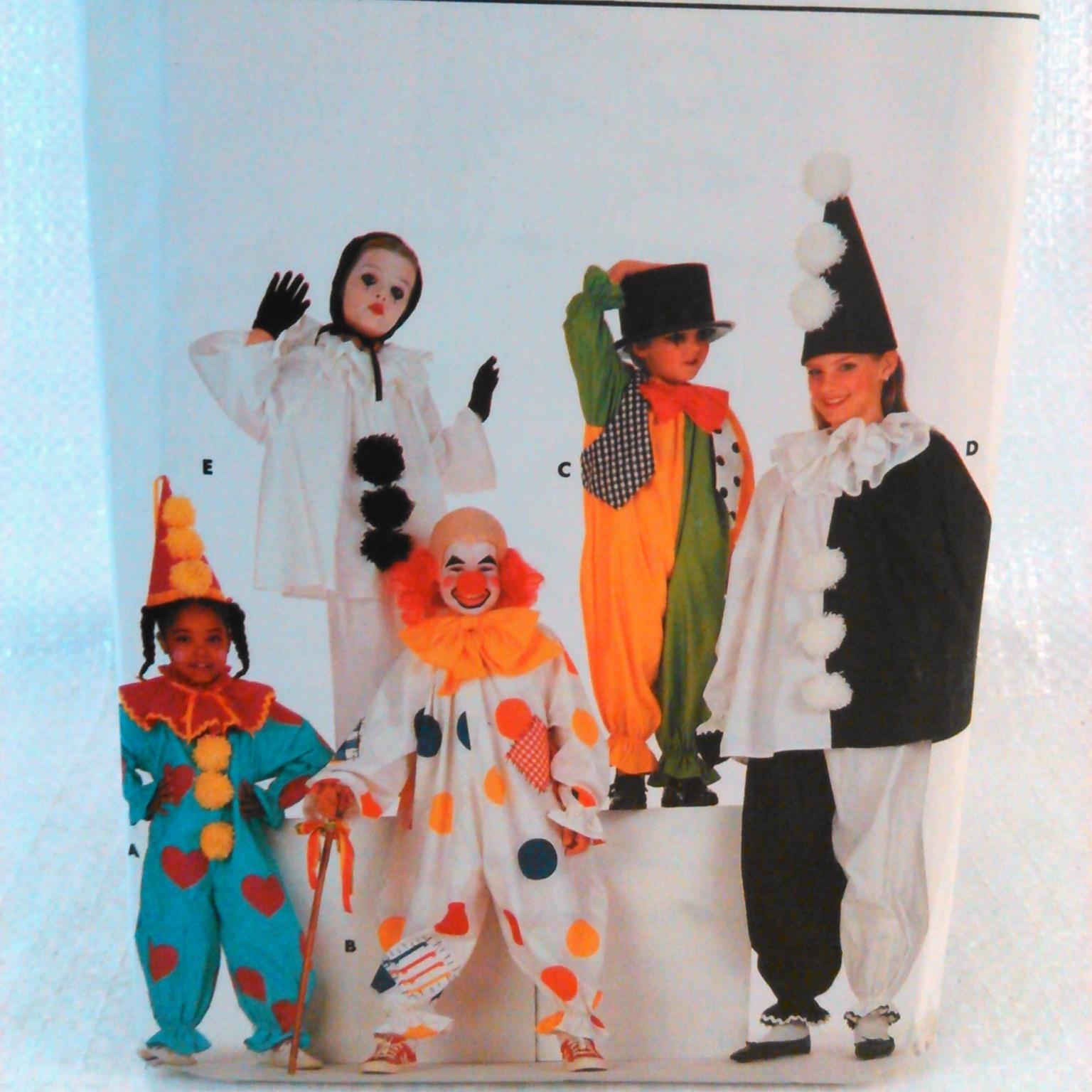 Uncut Child Clown Costume Sewing Pattern S-XL Butterick 4154 G
