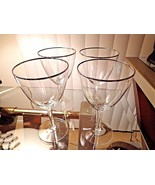 Set of 4 Bryce Diplomat Pattern Clear Crystal Water Goblets Platinum Rim - $31.68