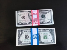 $600 Prop Money Replica 1s 5s New Style All Full Print For Movie Video Etc. - $41.99