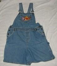 Winnie The Pooh Womens Bib Overalls Shortalls Romper Jean Denim L Large ... - $49.49