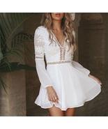 New white casual V neck lace details A line mini boho women dress spring... - $42.00