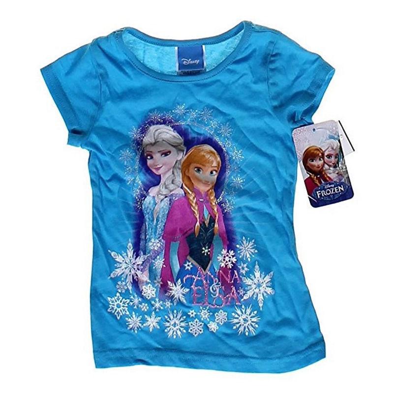 Girl's 4-6x Disney Frozen Shirt Anna Elsa Sisters Tee Blue Licensed T-Shirt