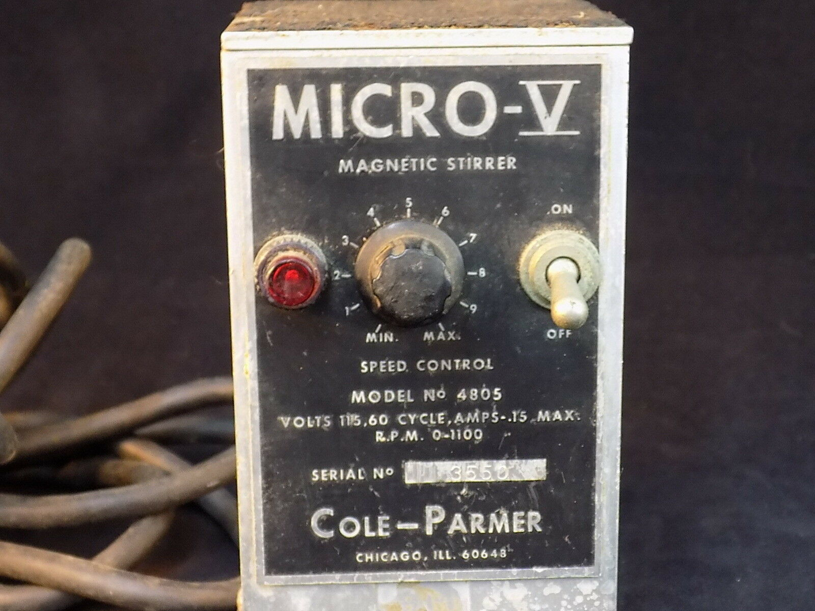 Primary image for LABORATORY MAGNETIC STIRRER MICRO V Model 4805 COLE PARMER Powers on untested
