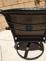 Outdoor bistro set 3 piece patio cast aluminum swivel rocker chairs end table. image 9