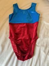 Girls Size Large Bodywear Red Velour Blue Foil Dance Gymnastics Leotard EUC - $22.00