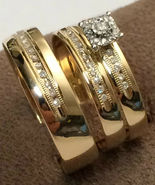 14k Gold Finish 925 Sterling Solid Silver His Her Wedding Diamond Trio R... - $148.99