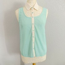 Double Zero Collared Tank Women's Small Blue Cream Sheer Button Down Blouse - $12.20