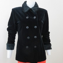 Vintage Black Velvet Double Breasted Jacket Small Faux Fur Cuff Collar U... - $69.25