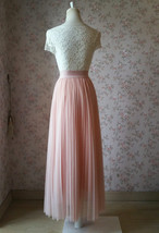 Blush Pink Pleated Tulle Skirt Tulle Pleated Maxi Skirt Elastic High Waist Band image 5