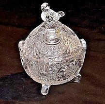Cut Glass with Detailed Etched Design AA18-11911 VintageHeavy