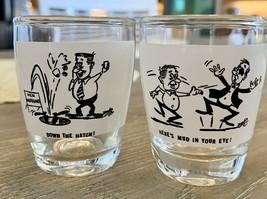 Mid-Century MCM Vintage Shot Glasses, Set of 2, Anchor Hocking Glass, Humor - $9.90