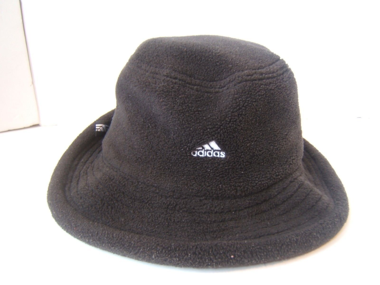 Adidas Spell Out Bucket Hat Medium Fitted Black Soft Fleece Unstructured Cap