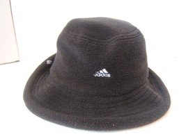Adidas Spell Out Bucket Hat Medium Fitted Black Soft Fleece Unstructured... - $30.74