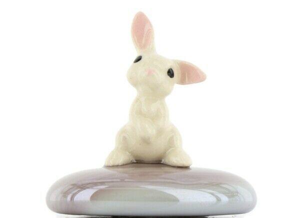 Stepping Stones Fairy Garden Terrarium Miniature White Baby Bunny on Plum Opaque