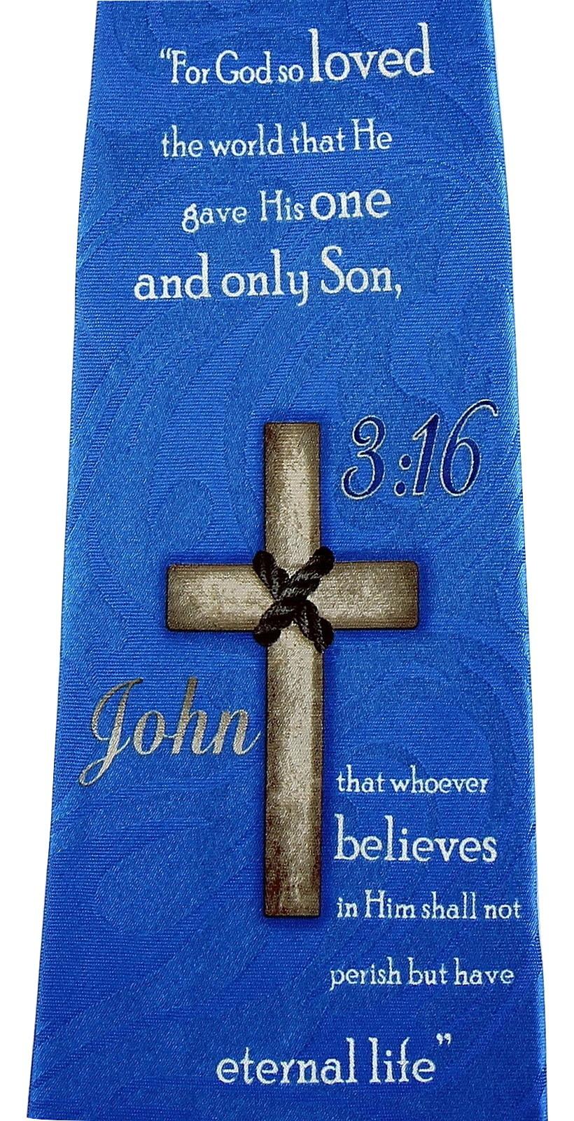 John 3:16 Mens Neck Tie Religious Scripture Christian Jesus Christ Blue Necktie image 2