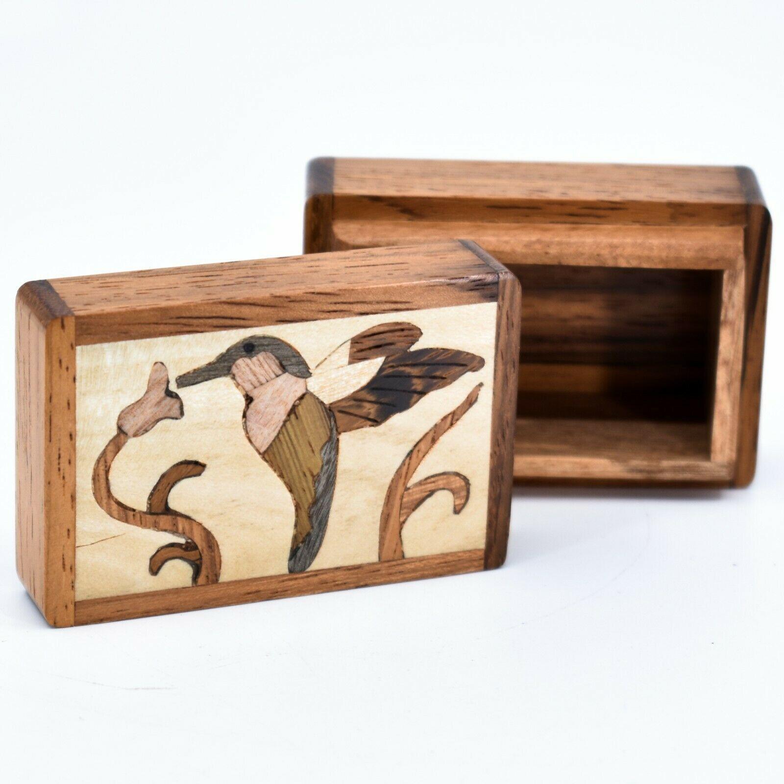 Northwoods Wooden Parquetry Hummingbird Bird at Flower Mini Trinket Box