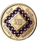 8 Year NA Medallion Bronze Purple Swarovski Crystal Chip VIII - $18.80