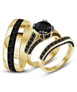 His Her Wedding Anniversary Black Diamond Trio Ring Set In 925 Sterling ... - £116.08 GBP
