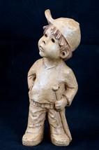 "Vtg Signed Lee Bortin Baseball Clay Figurine ""I'm not Out"" Boy w Bat 8''  - $38.22"