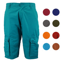Men's Relaxed Fit Cotton Zip Fly Cargo Shorts Multi Button Flap Pockets