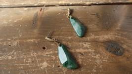 "Vintage KC Jade Gold Tone Dangle Earrings 2 1/8"" - $14.26"