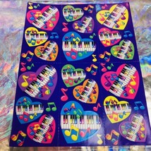 Mint Vintage  Lisa Frank Complete Sticker Sheet S168 Piano Hearts Music