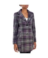 Madden Girl Purple Plaid Junior's Faux Wool Coat Sz S NWT - $29.53